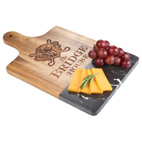 Black Marble and Wood Cutting Board