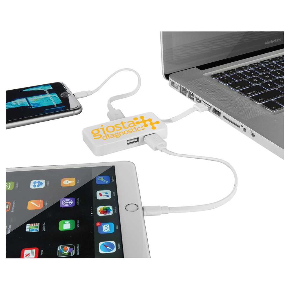 Grid USB Hub with Dual Cables