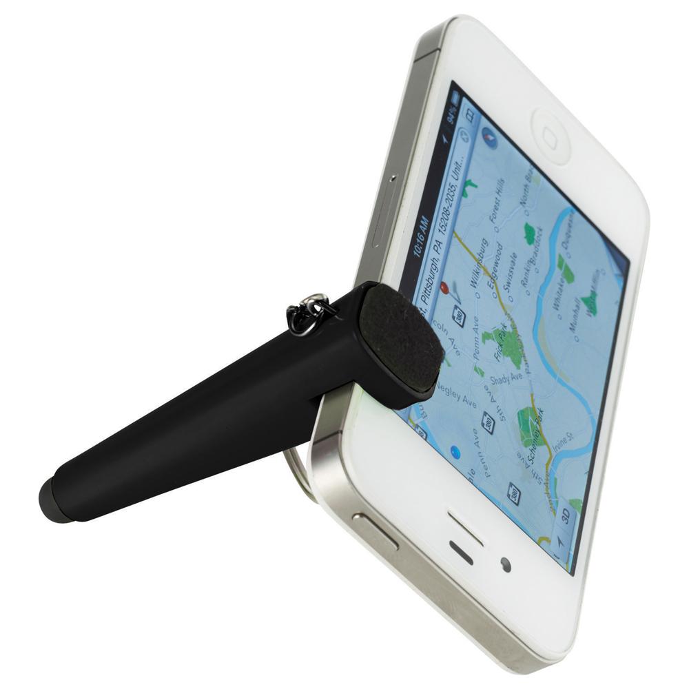 Taz Phone Holder-Stylus Keychain Black