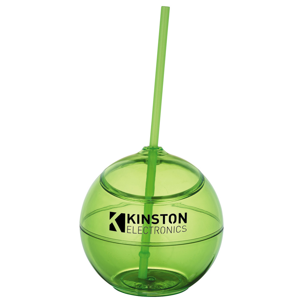 Fiesta Ball 20oz with Straw Translucent Lime Green