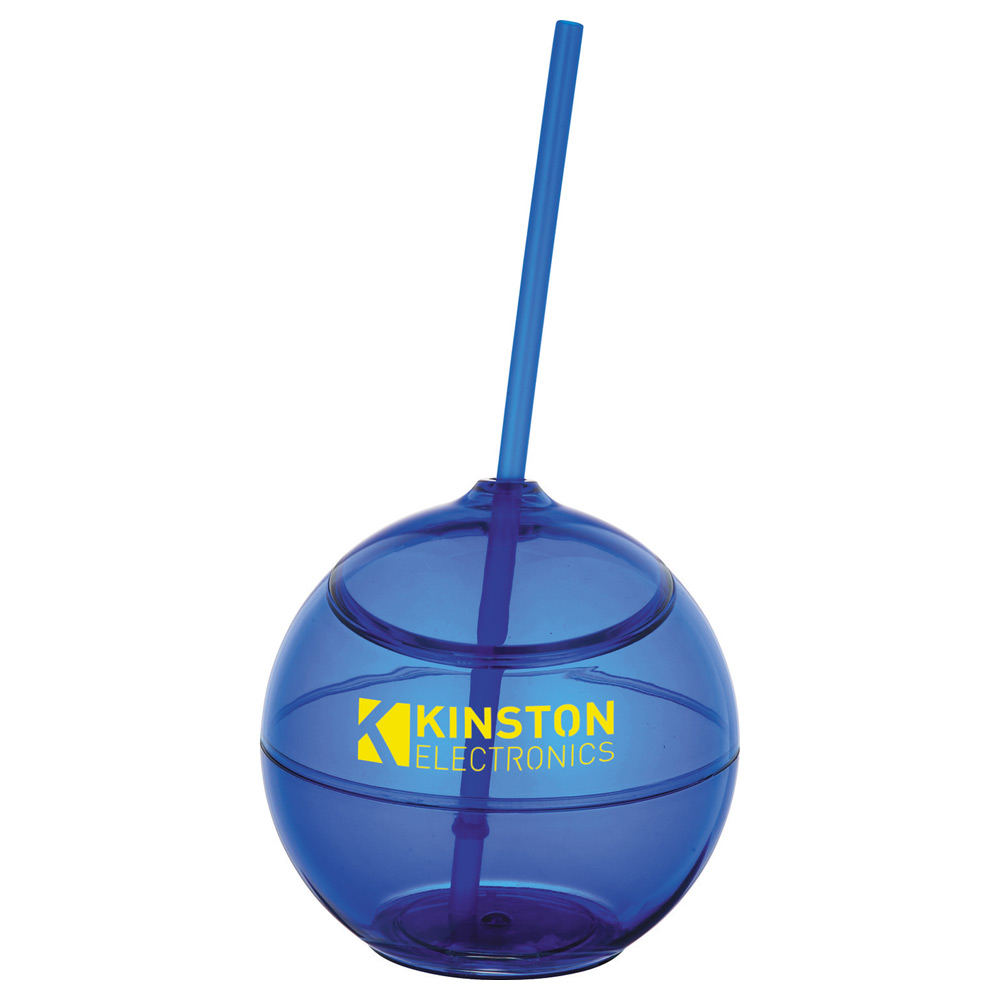 Fiesta Ball 20oz with Straw Translucent Royal Blue
