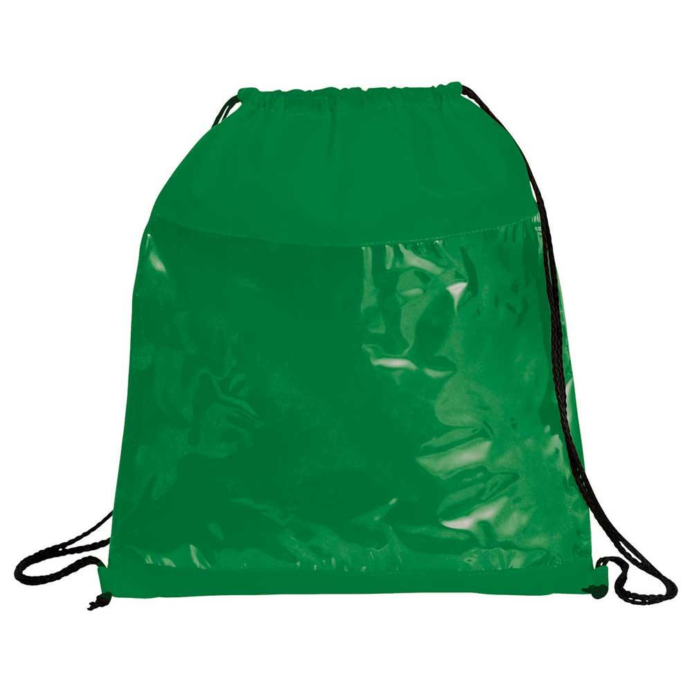 Clear Drawstring Bag Green