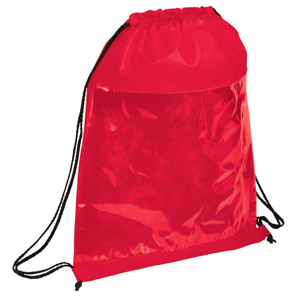 Clear Drawstring Bag Red