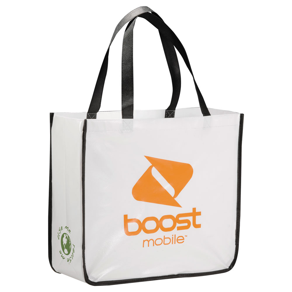 Large Laminated Non-Woven Shopper Tote White (WH)