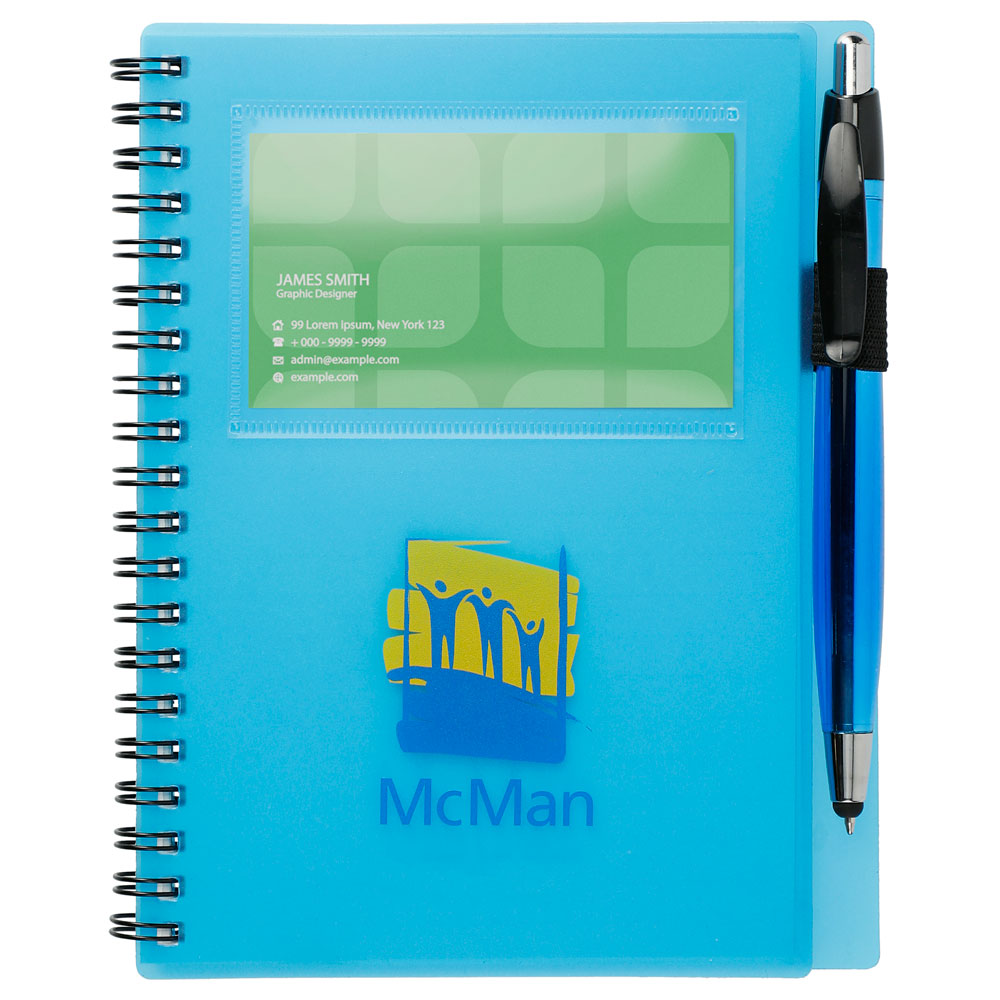 """5.5"""" x 7"""" Star Spiral Notebook with Pen"""