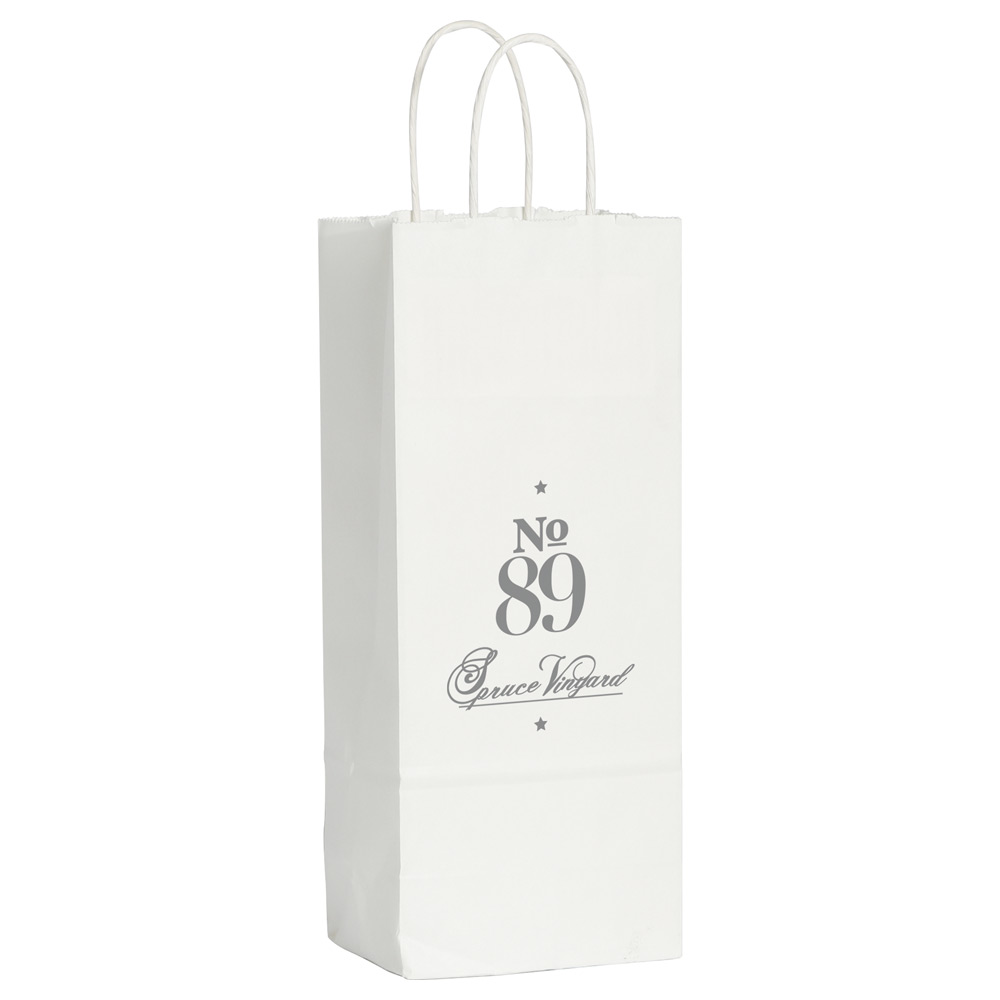Kraft Paper Wine Bag White