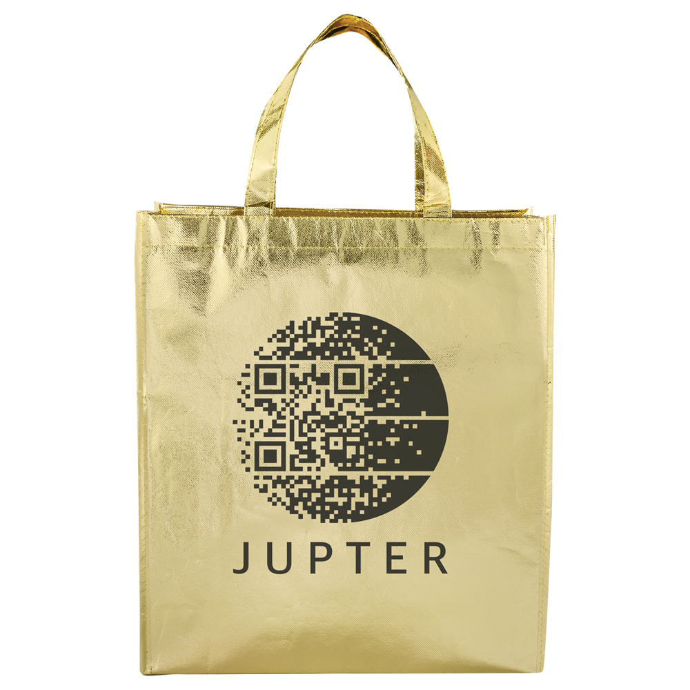 Metallic Laminated Shopper Tote