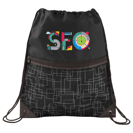Tech Print Mesh Drawstring Bag