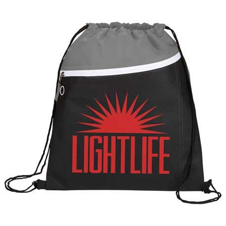Slant Front Pocket Drawstring Bag