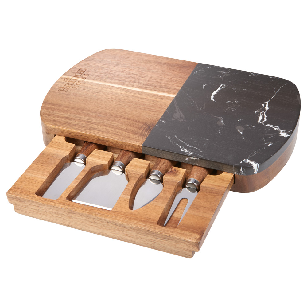 Black Marble Cheese Board Set with Knives