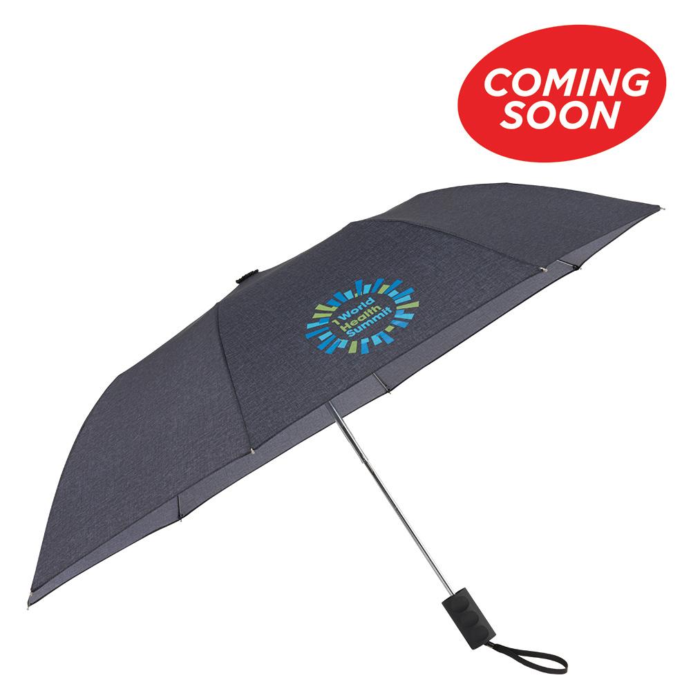 "42"" Auto Open Heathered Windproof Folding Umbrella"