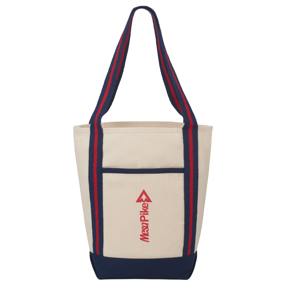 Stripe Handle 10oz Cotton Canvas Topsail Boat Tote