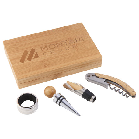 4 Piece Bamboo Wine Gift Set