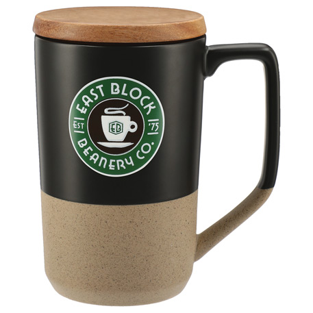 Tahoe Tea & Coffee Ceramic Mug with Wood Lid 16oz