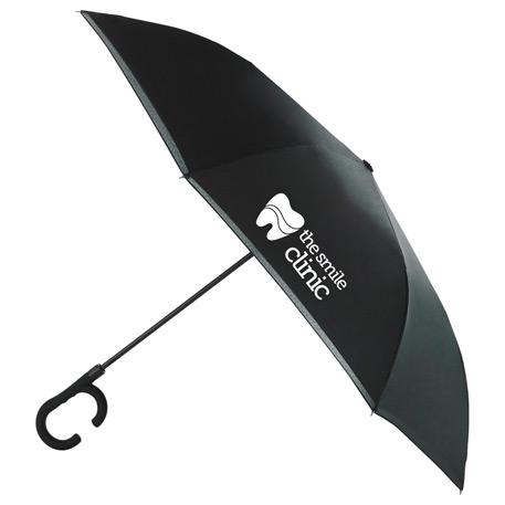 """48"""" Inversion Auto Open Umbrella w/ C-Shape Handle"""