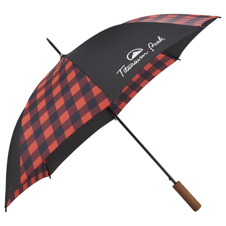 "46"" Auto Open Buffalo Plaid Fashion Umbrella"