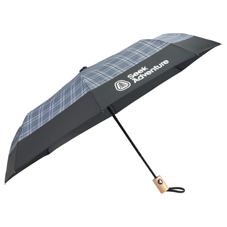 "42"" Recycled PET Auto Open Plaid Folding Umbrella"
