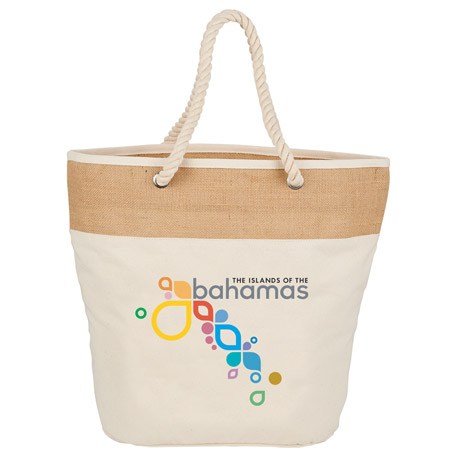 12 oz. Cotton Canvas and Jute Rope Tote
