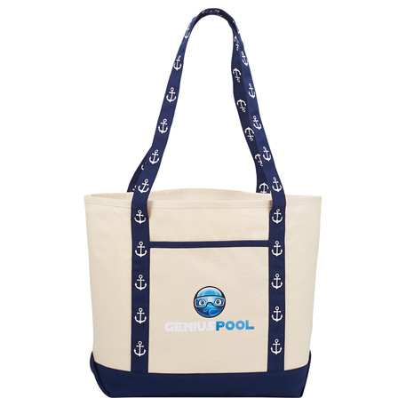 8 oz. Cotton Canvas Printed Handle Boat Tote
